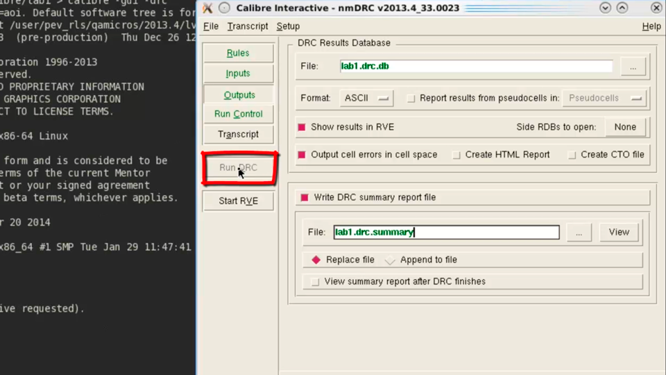 Running Calibre DRC verification with Calibre Interactive