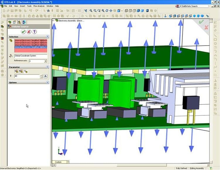 CAD-Integrated CFD for use in electronics cooling.