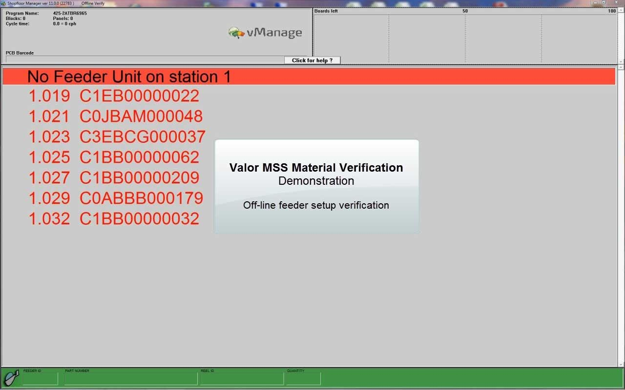 Offline Feeder Setup Verification on Mobile Feeder Unit (MFU)