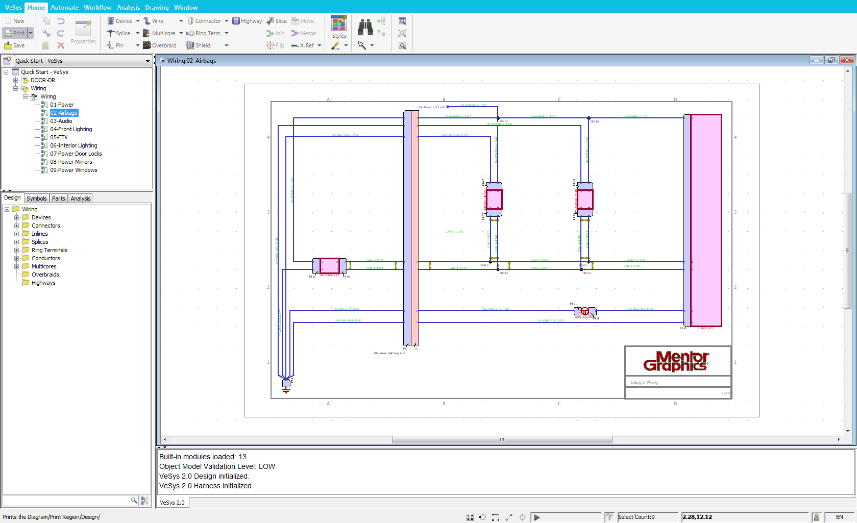 Vesys Design Mentor Graphics Two Schematic Wiring Diagram Is Graphical Authoring Environment For Creating Vehicle Diagrams Via An Intuitive User Interface And Electrically Intelligent Symbols