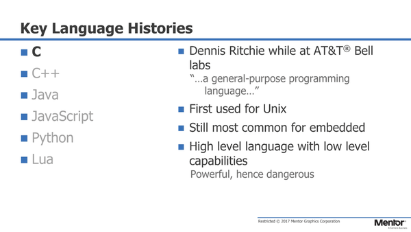C - The Language of Embedded - Mentor Graphics