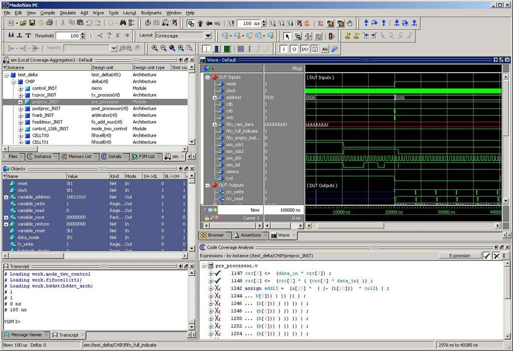 ModelSim PE Simulator for mixed language VHDL, Verilog and ...