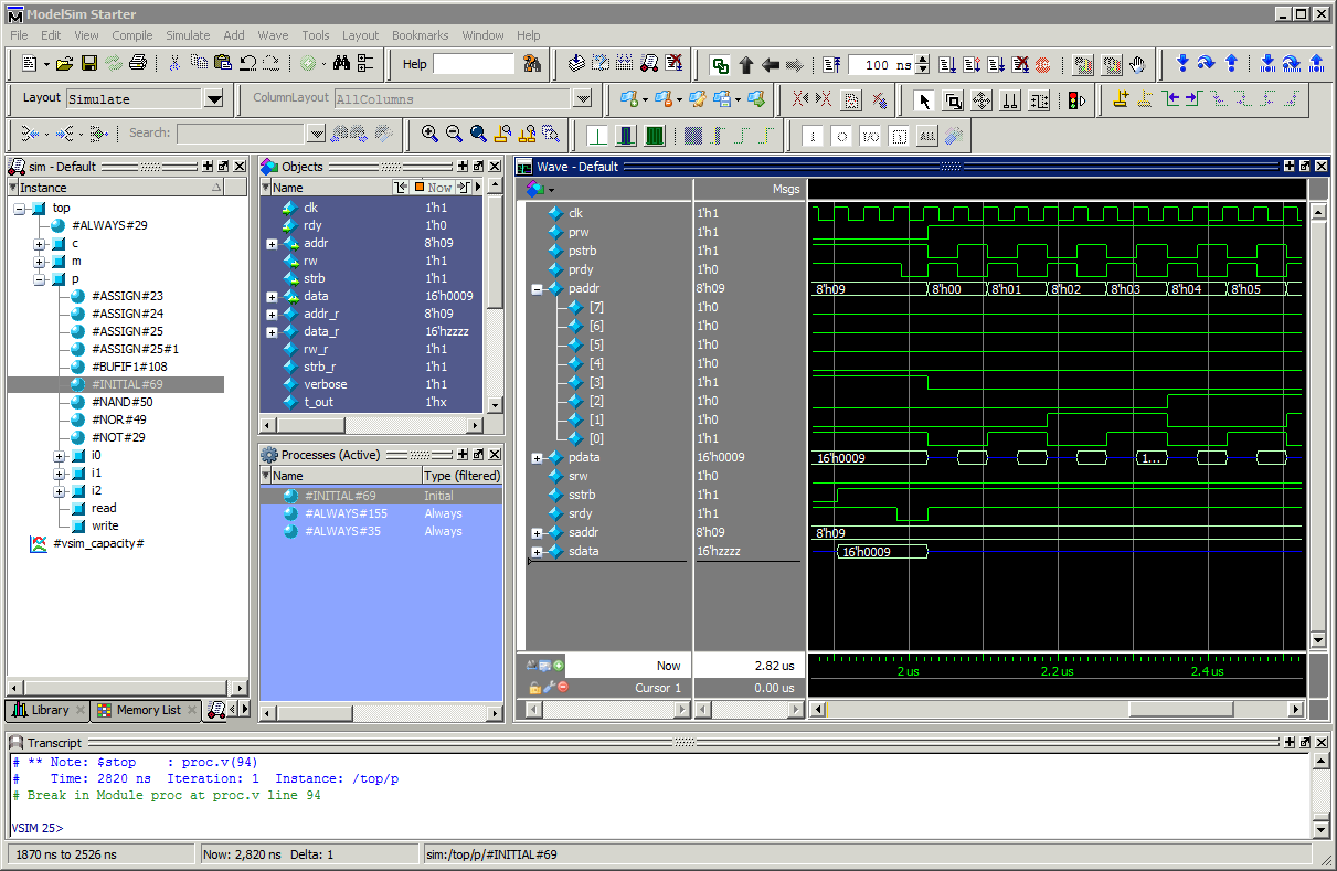 ModelSim Starter graphical user interface
