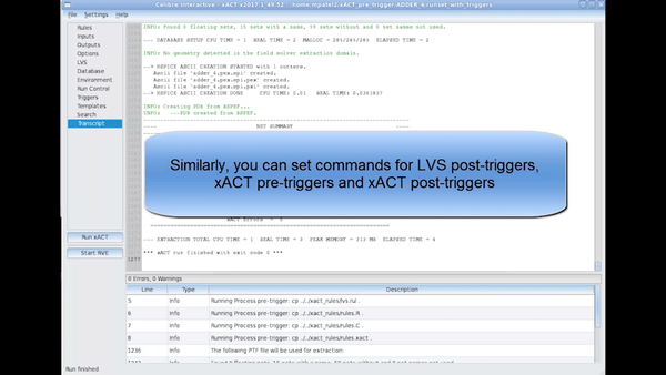 How to setup triggers in Calibre xACT Interactive GUI - Mentor Graphics